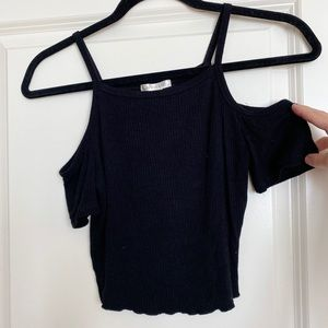 Black off the shoulder crop top - size small